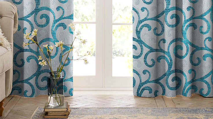 blue spirals curtains