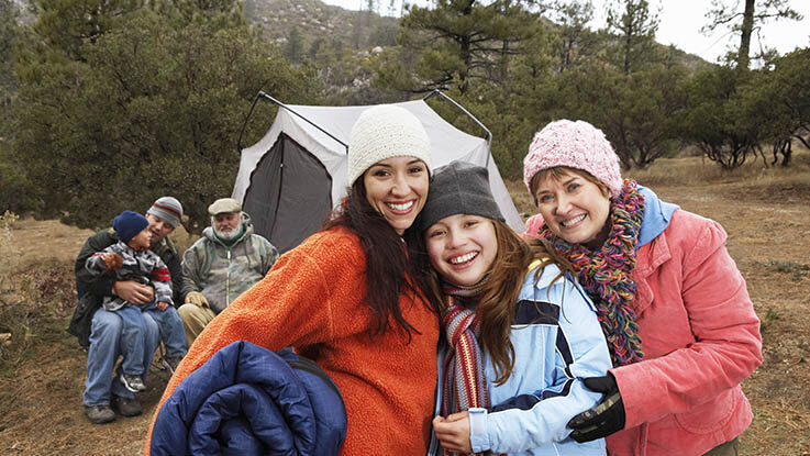 Family with children camping