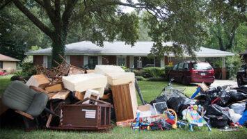 furniture outside after flood damage