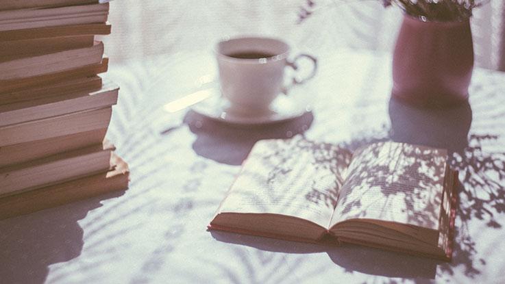 open book coffee flowers