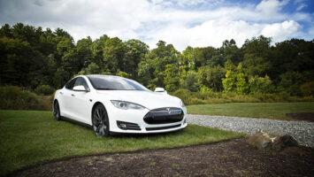 white tesla electric car