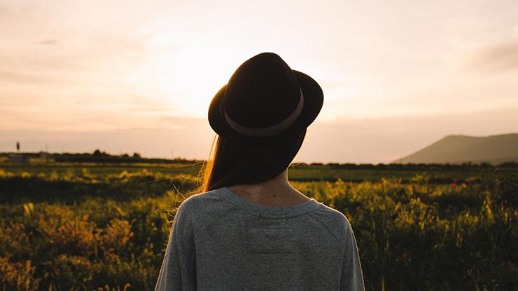 woman looking far away